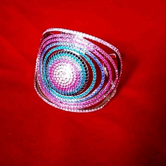 Silver Sworoski Crystal Cuff